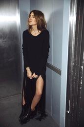 lefashion,blogger,dress,shoes,long sleeves,slit dress,black dress,sweater dress