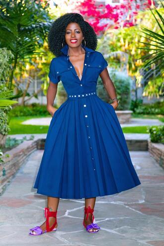 blogger dress shoes midi dress blue dress sandals flat sandals