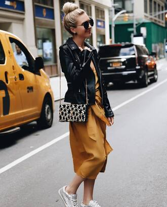 dress tumblr mustard midi dress jacket leather jacket black leather jacket bag sneakers yellow yellow dress