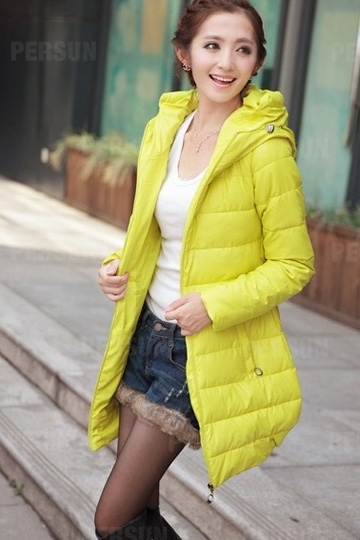 Pure Color Quilted Coat with Hood [HT00019] - PersunMall.com