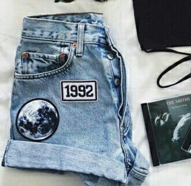 shorts 90s style aesthetic grunge soft grunge patch pastel tumblr girl moon denim shorts patch 90s grunge the smiths