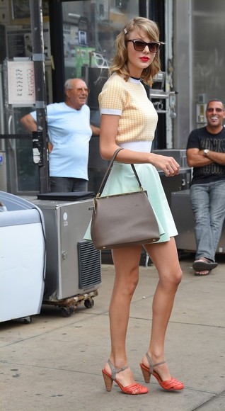 pastel top taylor swift skirt hair accessories