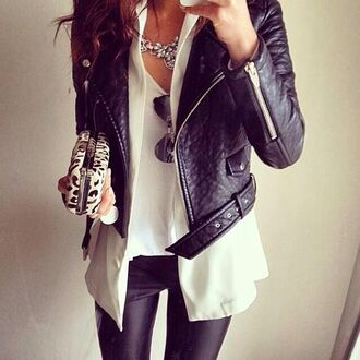 jacket black jacket leather jacket black leather jacket white shirt necklace white tee white top top tee girly clutch leather pants wet look leggings black friday cyber monday