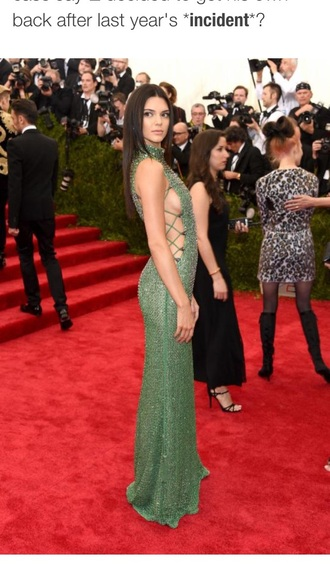dress formal green thingy kendall jenner