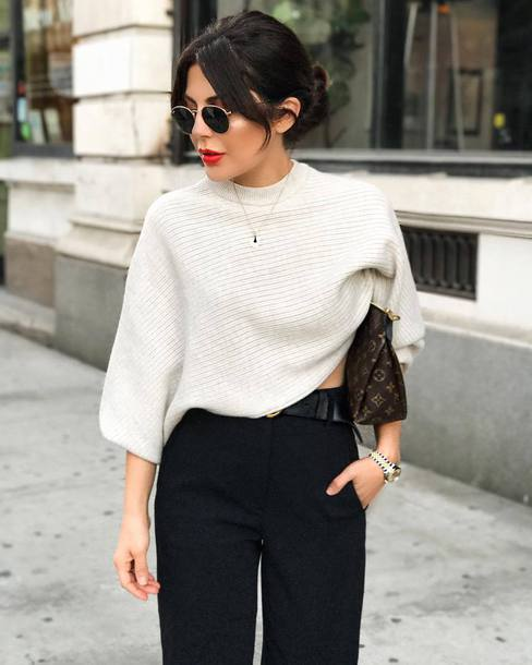 sweater tumblr white sweater cropped sweater cropped pants black pants sunglasses bag pouch