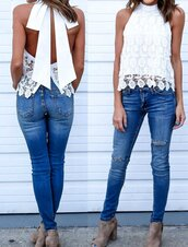 top,lace,white,white top,tank top,white lace,crochet top,back,backless top,backless tank top,summer,summer jeans top,vacation top,vacation blouse,bow,bow top,wrap top,lace shirt,a line,a line top,jeans top,skinny jeans top,summer top,white summer top,beach top,beach blouse,sexy,sexy top,white sexy top,party,party top,casual top,women casual,preppy,pretty,preppy summer,hot,cute top,moraki,white tank top,white shirt,crochet,sleeveless,sleeveless top,backless,summer holidays,summer accessories,vacation outfits,holiday season,holiday dress,bows,white t-shirt,all white everything,loose,beach,casual,streetstyle,streetwear,street,street goth,urban,style,style me,cool,cute,fashion