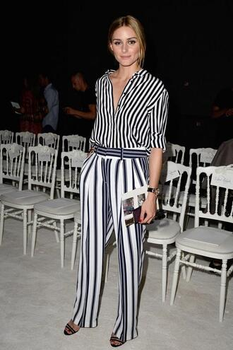 pants blouse shirt olivia palermo stripes striped pants sandals