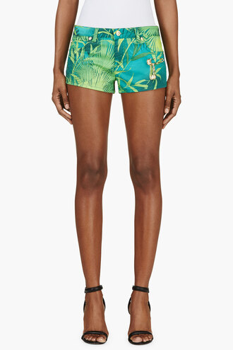 leaf shorts women green print safety pin