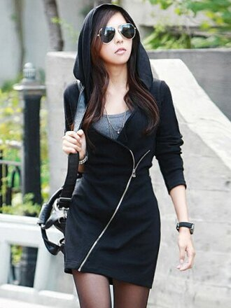 black zip black coat hoodie asian