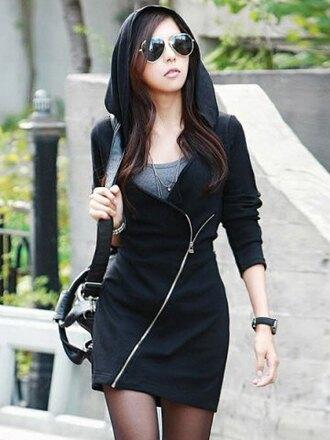 coat black zip zipper coat black coat hoodie trench coat bag school bag school girl asian back to school asian fashion blogger all black everything