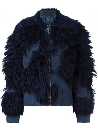 jacket knit fur faux fur women spandex blue