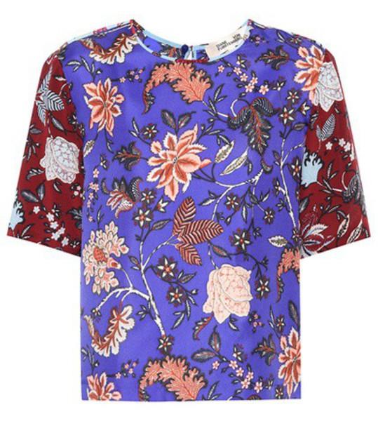 Diane Von Furstenberg shirt floral silk blue top