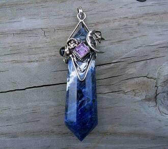 jewels crystal blue purple moon charm chain detail stars cute pretty