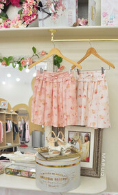 skirt,maruq,girly,pink,beige,cute,kawaii,floral,liz lisa