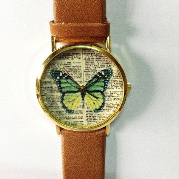 jewels butterfly vintage green cute gold freeforme watch