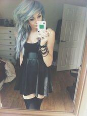 little black dress,leather dress,black dress,grunge,punk,emo,scene,leather circle skirt,circle skirt dress,circle skirt,dress