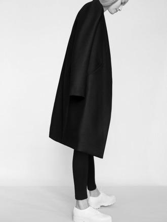 minimalist simple duster coat black coat