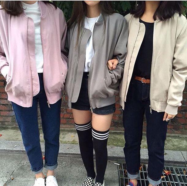 Jacket tumblr aesthetic tumblr korean fashion cute thigh highs shorts aesthetic socks ...