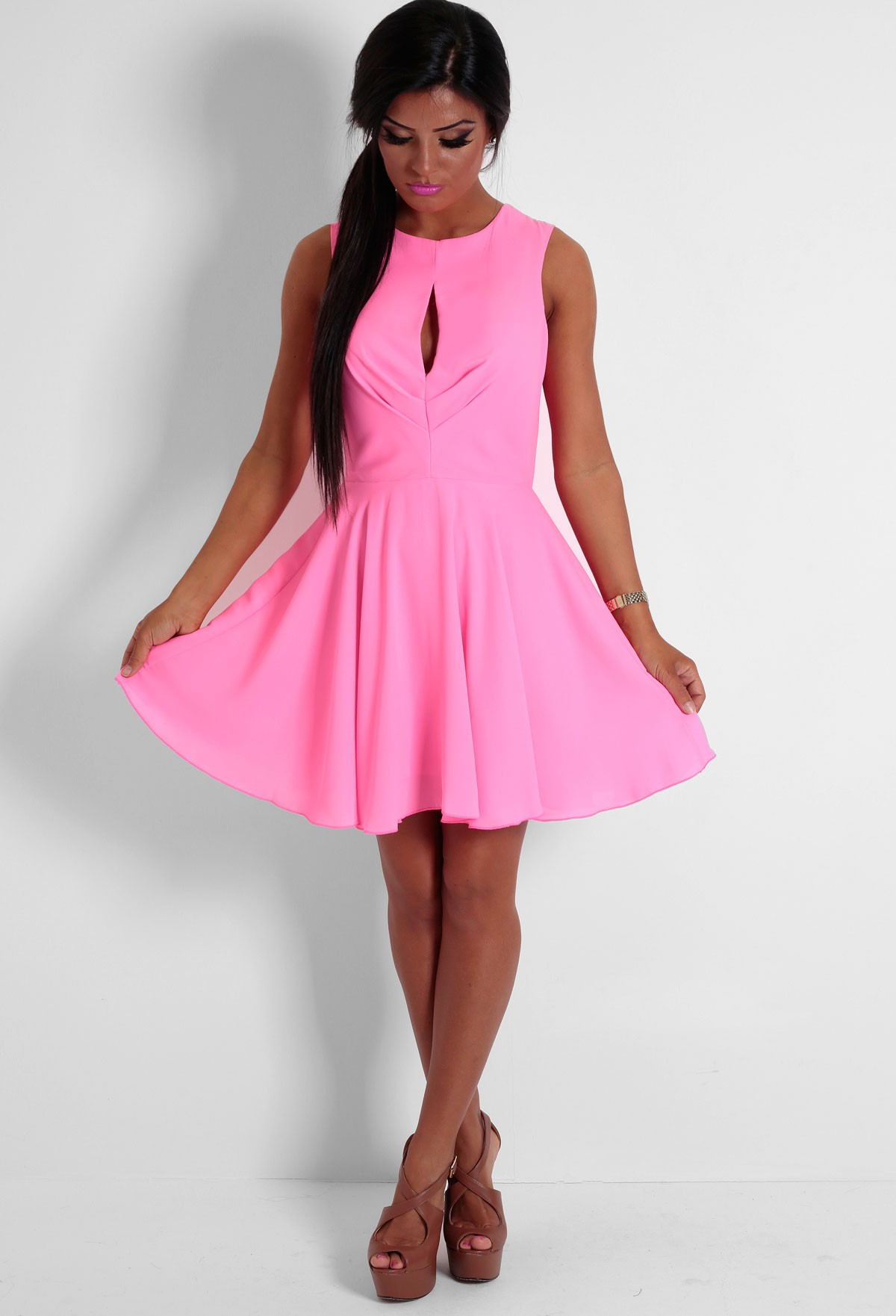 You Look Bright Pink Chiffon Skater Dress | Pink Boutique