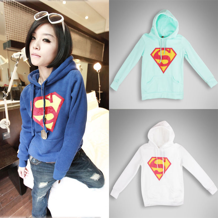 Felpa Manica Lunga Superman Logo Stampa Cappotto Casuale Pullover Top Outwear | eBay