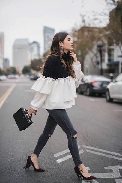 sweater tumblr ruffle denim jeans grey jeans skinny jeans pumps bag black bag handbag