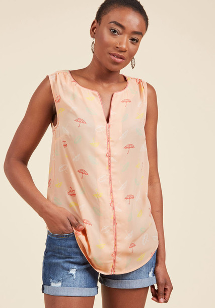 MCT1103A top loose style flowy colorful print pink peach green