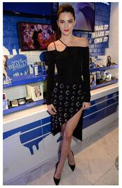 skirt,top,asymmetrical,asymmetrical skirt,kendall jenner,off the shoulder,pumps,black dress,dress,kardashians,blouse,bodysuit