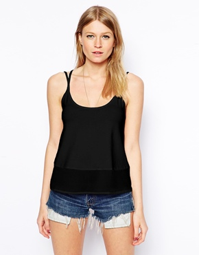 ASOS | ASOS Cami Top with Woven Hem at ASOS