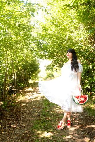 the cherry blossom girl blogger white dress flat sandals