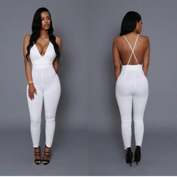 off Kloset Envy Pants - White Criss Cross Jumpsuit