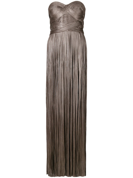 Maria Lucia Hohan gown women spandex silk grey metallic dress