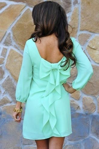 dress green bow back dress mint green dress