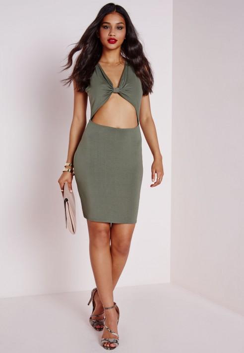 a80528ebb16a Knot Front T-shirt Dress Khaki - Dresses - T-Shirt Dresses - Missguided