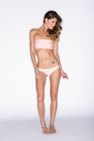 top bandeau bikini top rose pink soah swimwear bikiniluxe