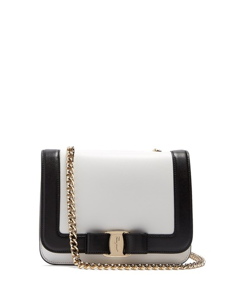 Salvatore Ferragamo cross rainbow bag leather white black