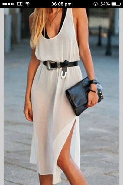 dress beige elegant fashion style classy trendy flowy belt transparent summer rose wholesale-jan white midi dress cute