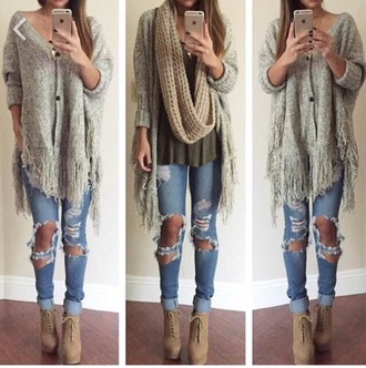 cardigan fashion pullover hippie jeans fall outfits outfit