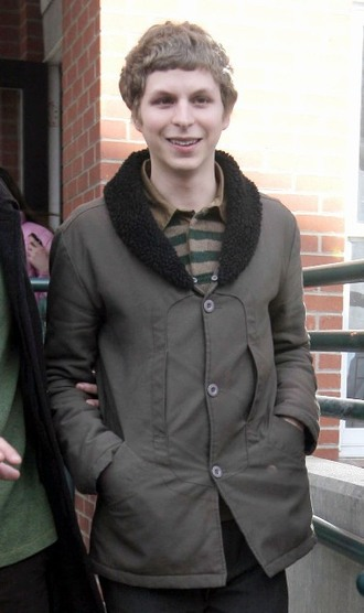 coat michael cera jacket tan jacket tan coat button up three buttons brown jacket brown coat black collar