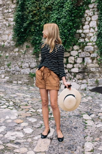 shorts brown shorts tumblr top striped top long sleeves flats ballet flats black flats hat straw hat spring outfits