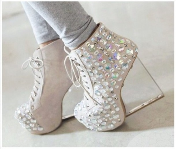 shoes rhinestones sparkle clear heels lace up jeffrey campbell wedge heels  white