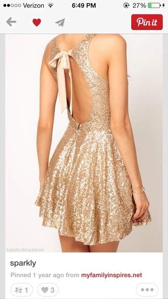 dress gold sequins dress gold bow open back dresses