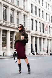 wendy's,lookbook,blogger,sweater,skirt,bag,sunglasses,socks,jewels,turtleneck sweater,handbag,midi skirt,knitted skirt,boots,winter outfits
