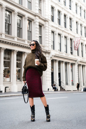 wendy's lookbook blogger sweater skirt bag sunglasses socks jewels turtleneck sweater handbag midi skirt knitted skirt boots winter outfits