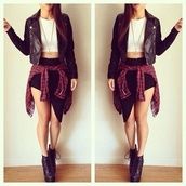 skirt,black,bodycon skirt,edgy,black and white,top,crop tops,leather jacket,leather,boots,flannel shirt,fashion,jacket,black leather jacket,blouse,shirt,shoes,black skirt,slit skirt