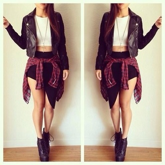 skirt black bodycon skirt edgy black and white top crop tops leather jacket leather boots flannel shirt fashion jacket black leather jacket blouse shirt shoes black skirt slit skirt