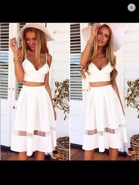 white dress white skirt white summer dress style vintage dress skirt mesh panel dress top