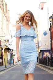 dress,blue vanilla,lace dress,blue lace dress,blue dress,frilly,midi dress,sheer,floral dress,light blue,summer dress,event dress,summer outfits