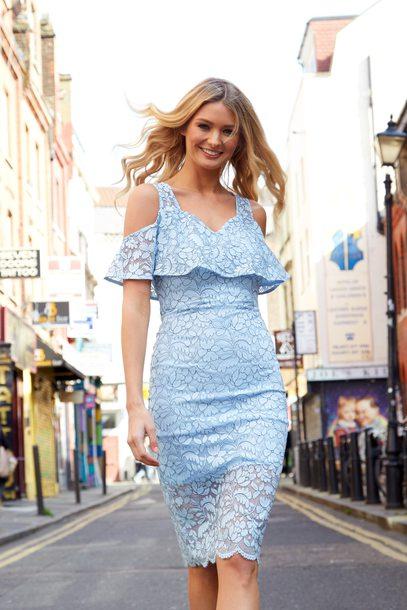 dress blue vanilla blue dress frilly midi dress sheer floral dress light blue summer dress event dress summer outfits