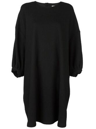 dress shift dress oversized women black wool