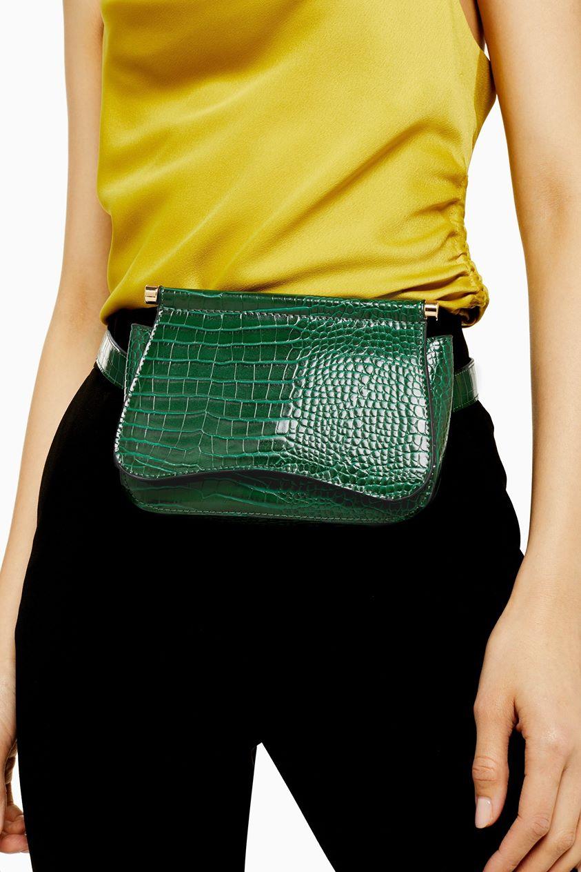 Womens Bonnie Green Crocodile Belt Bag - Green